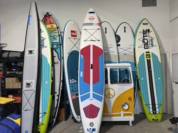 inflatable paddleboards at the Sealed Air Repairs warehouse